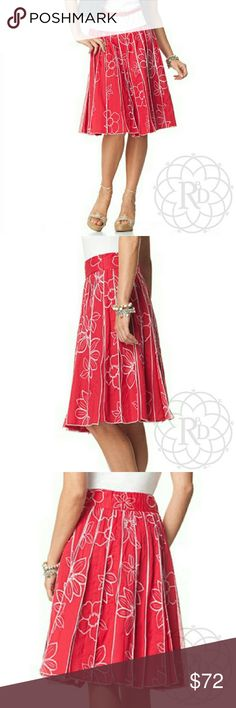 "Coldwater Creek Red Embroidered Floral Skirt 🎉HP🎉 Super Cute Red Floral Embroidered Gored Skirt.  ▪ Partial elastic waist with zipper closure  ▪ Waist: 28"" inches, Length: 25"" inches   ⚠ All measurements are approximate  🚩 This is a super rare skirt!! 💥 Brand New with tag. Never worn   NOTE: Petite cut skirts of this brand fit the same overall as a regular cut. Please see measurements above   ✋ All Sales Final 