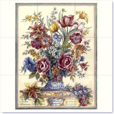 1000 images about floral murals on ceramic tiles on for Ceramic mural designs