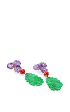 18K Yellow Gold Green Jade Multi-Colored Stone Earrings by Bahina - Moda Operandi