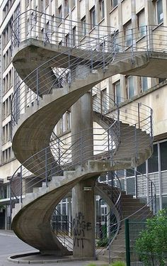 Cool twin spiral staircases!