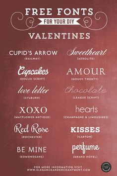 Free Fonts for your DIY Valentines, projects and blogging, from Elegance & Enchantment