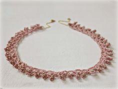 pink #crochet beaded necklace byHaafner