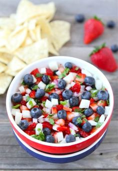 Blueberry, Strawberry, & Jicama Salsa - I would take out the cilantro and onion, maybe add a bit of honey and greek vanilla yogurt and serve this with cinnamon sugar tortilla chips for a healthy snack or light and fresh summer dessert. Vegan Lunch Recipes, Cooking Recipes, Healthy Recipes, What's Cooking, Easter Recipes, Healthy Snacks, Healthy Eating, Healthy Fruits, Healthy Life