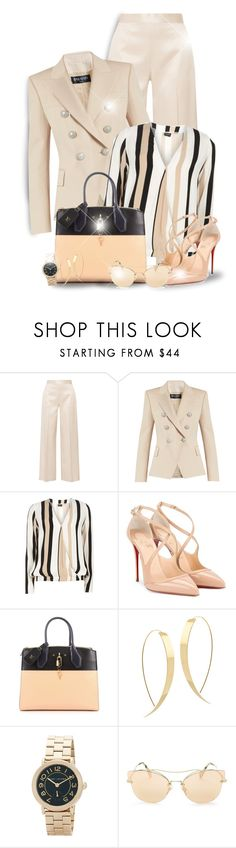 """Wear it in a Stripped Top (OUTFIT ONLY)! - Contest!"" by asia-12 ❤ liked on Polyvore featuring The Row, Balmain, Dorothy Perkins, Christian Louboutin, Louis Vuitton, Lana, Marc by Marc Jacobs and Miu Miu"