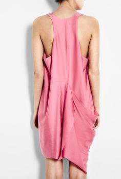 Pink Drape Silk Racer Back Dress by Acne (back) £190
