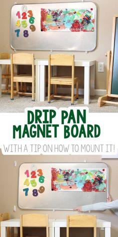 Drip Pan Magnet Board in the Playroom