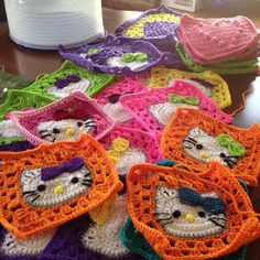 Hello Kitty Granny Squares -- maybe just make them cat squares?