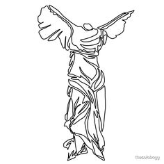 'Minimal line illustration of the Winged Victory of Samothrace' by thesoloboyy Victory Tattoo, Winged Victory Of Samothrace, Brust Tattoo, Statue Tattoo, Sketch Tattoo Design, Little Presents, Greek Art, Dog Tattoos, Easy Drawings