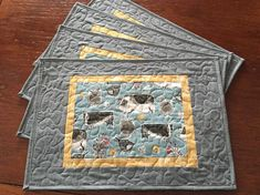 Farmhouse Quilted Placemats Quilted  Placemats Blue Gray