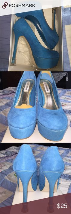 Steve madden super sexy blue suede This blue suede shoes are super sexy 4 1/2 inch heels. With heel protectors on the bottom. Lovingly worn but in great condition. When in a half inch platform toe. Steve Madden Shoes Heels