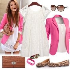 Pink Blazer And White Dress Outfit White Summer Outfits, Casual Outfits For Teens, White Dress Summer, Teen Fashion Blog, Fashion Outfits, Fashion 2015, Pink Fashion, Colorful Fashion, Polyvore Outfits