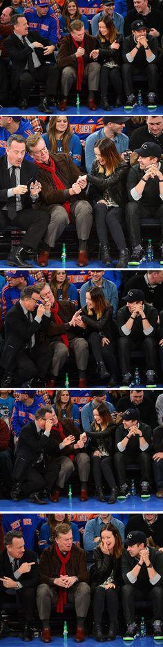Tom Hank's priceless reaction to Olivia Wilde's engagement ring.. I love tom hanks