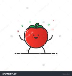 Vector Illustration Of Funny Tomato Character Cartoon Isolated In Line Style. Linear Red Cute Vegetable Icon With Face Smile. Flat Design For Banner, Web Page And Mobile App. Outline Vegan Expression. - 511602169 : Shutterstock