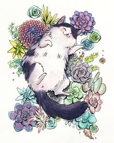 cat drawing Return of succulent cat .a Junior kitty for grizandnorm - Tap the link now to see all of our cool cat collections! Animals Watercolor, Watercolor Art, Watercolor Wallpaper, Art Inspo, Art Mignon, Art Et Illustration, Cat Illustrations, Illustration Animals, Crazy Cats