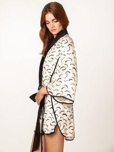 e0eb913f73a36 Kimono Eyelash Robe Silk Kimono Robe, Kimono Top, Traditional Kimono, Black  White Stripes. DEAR BOWIE