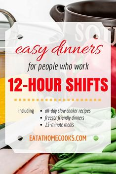If you work long hours these are the perfect recipes for you! Slow cooker recipes, freezer meals, and quick, easy dinners for people who work 12 hour shifts! Work Meals, Make Ahead Meals, Quick Meals, Easy Dinners, Simple Meals, Cooking For One, Cooking Tips, Cooking Games, Cooking Recipes