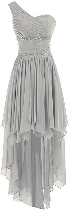 Sunvary Fashion One-Shoulder Chiffon Beads Homecoming Prom Dresses Bridesmaid Gown Size 4- Silver at Amazon Women's Clothing store: