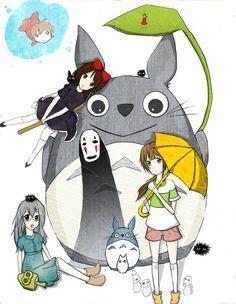 Visit my Little store to see more product about Totoro and more manga, anime! Anime Nation with the best price and worldwide shipping Studio Ghibli Art, Studio Ghibli Movies, Hayao Miyazaki, Cartoon Painting, My Neighbor Totoro, Illustrations, Cute Art, Manga Anime, Chibi