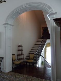 "Stairhall, Rosalie    Rosalie (1823). This National Historic Landmark is one of the earliest fully developed ""suburban villas"" in Natchez. The Federal-style house is open to the public by the Daughters of the American Revolution. The large mansion overlooking the Mississippi River also served as the headquarters of the Union Army during the occupation of Natchez in the Civil War."