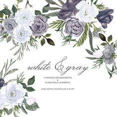 White, Gray & Black Roses with Green Leaves Clipart - 43 separate elements & 4 arrangements. They are great when used for enriching your special events invitations, scrapbook photos, greeting cards, and many other DIY projects. All images are 300dpi. ___________________________ ITEMS