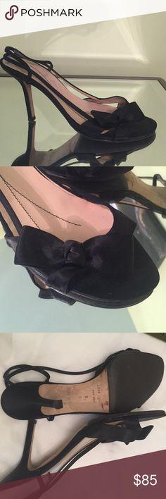 "Kate Spade Slingback Pump Kate Spade black satin pumps.  bow detail on upper, 3"" heel, beautiful condition kate spade Shoes Heels"