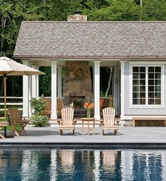 pool house, doesnt have to be big, small and cozy with covered fireplace for rainy days
