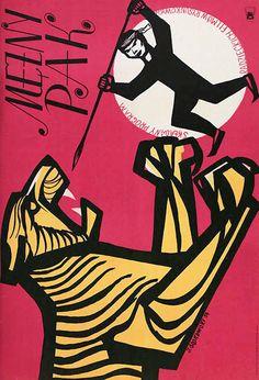 """Polish Poster by Jerzy Srokowski, 1954, """"Mezny Pak"""", Collection of children's animated shorts films."""