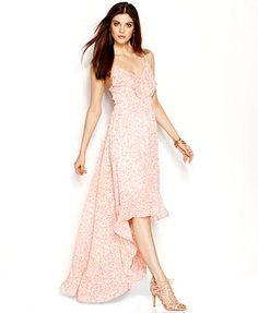 GUESS Ruffle-Trim High-Low Chiffon Maxi Dress