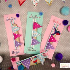 Süße Wimpel Einladungskarten Zum Kindergeburtstag Selberbasteln