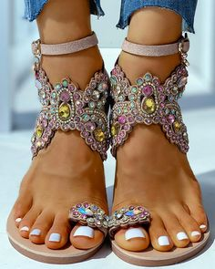 Style:Fashion Pattern Type:Patchwork Material:Polyester Occasion:Casual Package Note: There might be difference according to manual measurement. Ankle Strap Flats, Strap Heels, Strap Sandals, Leather Fashion, Fashion Shoes, Women's Fashion, Patchwork Material, Casual Rings, Floral Sandals