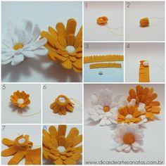 Felt daisies - DIY  Margaridas de feltro - passo a passo  www.dicasdeartesanatos.com.br