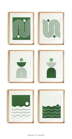 Green Canvas Art, Mini Canvas Art, Mid Century Wall Art, Abstract Geometric Art, Plant Drawing, Modern Art Paintings, Diy Arts And Crafts, Art Therapy, Emerald Green