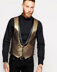 ASOS Slim Vest In Gold