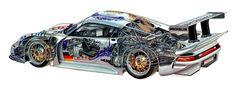 Porsche 911 GT1 cutaway illustration