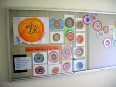 """The Dot"" book art activity Teacher says: The task for these students, using a color wheel for reference, was to paint their concentric circles in pairs of complementary colors with black    September 15 is ""International Dot Day"""