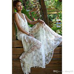 New Style Woman Lace Maxi Bohemian Dress V Neck Sleeveless Casual Dress Beach Bikini Cover-Ups Loose White Long Dress NAE0320 Online with $18.02/Piece on Hhwq105's Store | DHgate.com