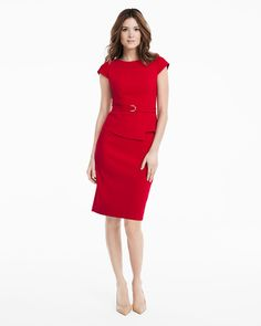 Cap Sleeve Peplum Sheath Dress