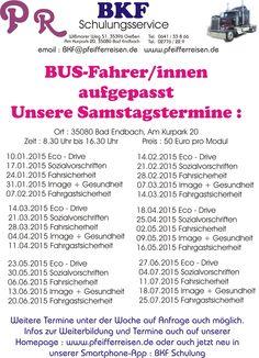 Samstagstermine Modulschulung Busfahrer/innen