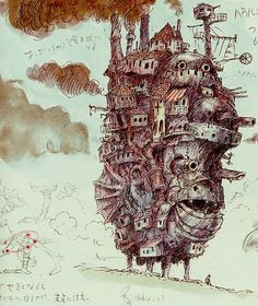 Howl's Moving Castle Concept Art #01 Studio Ghibli/Miyazaki Background and Concept Art Series. Howl's moving castle is made out of rubbish.