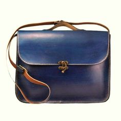 Handmade Laptop Bag ,Deep Blue Leather ,Briefcase ,Messenger Bag ,Shoulder Bag ,Satchel ,for men ,for women ,Mothers Day ,MADE TO ORDER. $124.00, via Etsy.