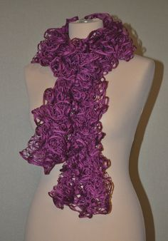 Pink knit scarf Berry by MiLenaF on Etsy