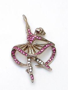 Lisner Pink Ballerina Figural Brooch