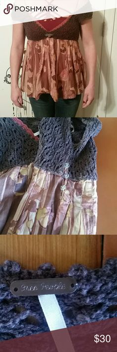 Free people crochet top Free people brown,tan,and mauve detailed top with crochet top and back. Excellent condition like new. Have to wear tank or bralette under crochet top has no linning. Free People Tops Blouses