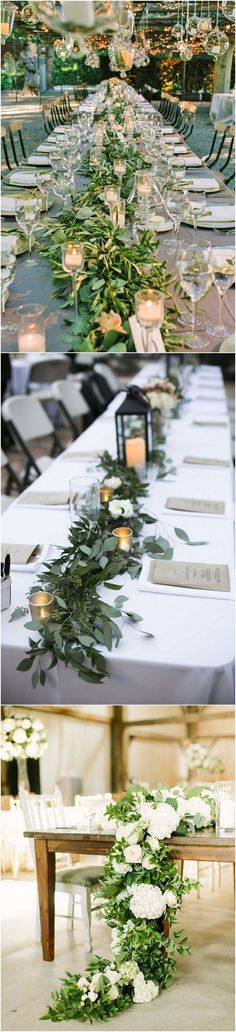romantic greenery wedding table setting ideas for reception