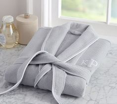 Hotel Piping Robe, Small, Grey w/ White Trim At Pottery Barn - Bath - Robes & Slippers Monogram Bedding, Men's Robes, Luxury Home Furniture, Outdoor Furniture, Bridal Robes, Grand Hotel, White Trim, Home Accessories, Moda Masculina