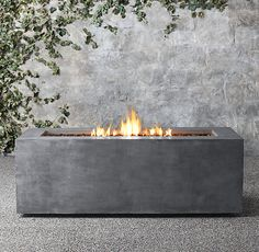 Mendocino Natural Gas Rectangle Fire Table   Tall