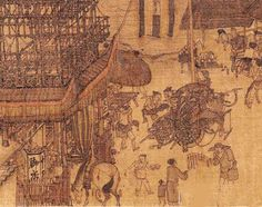 Along the River During the Qingming Festival is a 5 metre long painting that portrays a panoramic street scene of the Chinese capital Bianliang (汴梁) in the 11th century.  This part of painting shows restaurant staffs are checking bills and loading cooked food onto a cart for takeaway orders. https://plus.google.com/+Simplifyyourlifepluschina/posts/JHFW37PkdVb