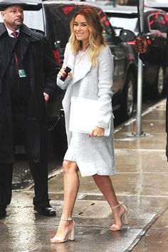 For a classic and casual ensemble, opt for a grey coat and a white lace sheath dress — these pieces fit beautifully together. Let your styling sensibilities really shine by finishing off your getup with beige leather heeled sandals. Lauren Conrad Style, White Sheath Dress, Nude Sandals, Heeled Sandals, Dressed To The Nines, Tan Dresses, Work Wardrobe, Chic Dress, Looking For Women