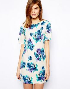 Warehouse Blurred Floral Premium T-Shirt Dress