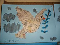 Νηπιαγωγός - κατασκευές για μικρά χεράκια: ΕΙΡΗΝΗ Peace Art, Rooster, War, Blog, Kids, Crafts, Animals, Education, Fiestas